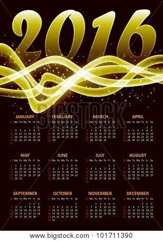 Calendar For 2016 On Gold Plazma Background