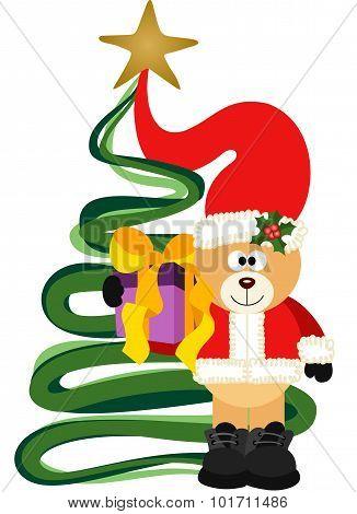 Christmas Teddy Bear with gift