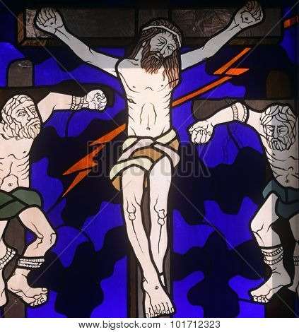 RIJEKA, CROATIA - JUNE 11: 12th Stations of the Cross, Jesus dies on the cross , stained-glass window in the church of St. John the Baptist in Rijeka, Croatia, on June 11, 2011
