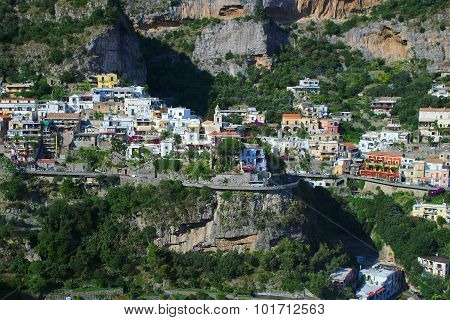Houses On Cliff In Amalfi Coast