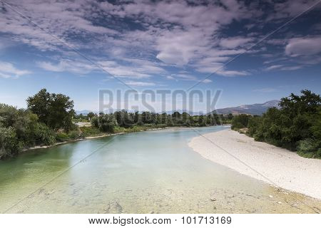 View Of Arachthos River Of Arta City, Epirus Greece