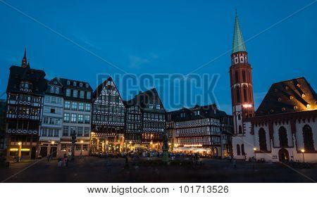 Famous Frankfurt City Romerberg Square In Germany