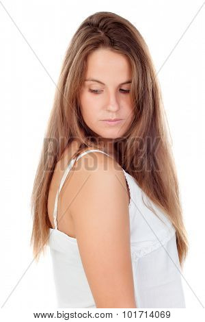 Sad woman looking down isolated on a white background