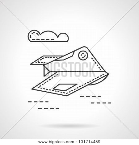 Unmanned aerial robot line vector icon.