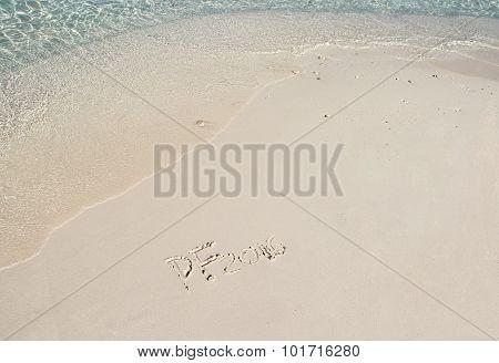 Handwriting Inscription 2016 On The Beach