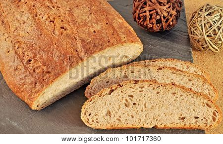 Close-up of Silesian homemade bread.