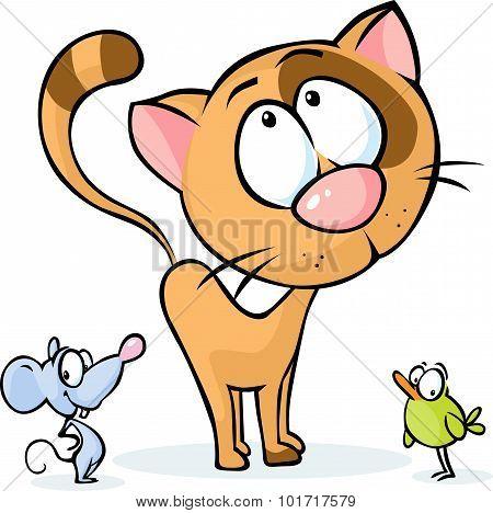 Cute Vector Animal - Cat, Mouse And Bird Cartoon