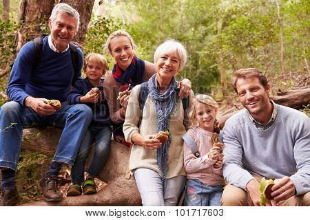 Multi-generation family eating in a forest, portrait