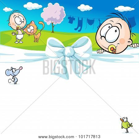 Horizontal Design With A Baby And Animals - Cheerful Vector Illustration