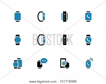Smartphone with smart watch duotone icons on white background.