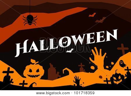 Halloween vector background. Pumpkin head, zoombie hand, halloween symbols. Black and red halloween colors, halloween silhouette for halloween party flyer design. Halloween night background, ghost