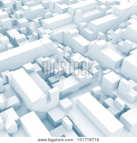 Abstract Digital White 3D Cityscape With Soft Light