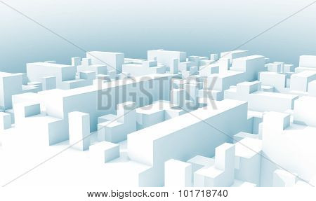 Abstract White Schematic 3D Cityscape, Blue Toned