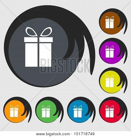 Gift Box Sign Icon. Present Symbol. Symbols On Eight Colored Buttons. Vector