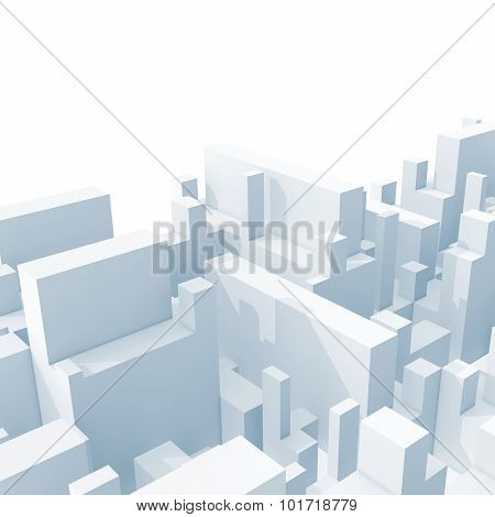 Abstract Light Blue Schematic 3D Cityscape Isolated