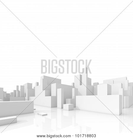 Abstract Schematic 3D Cityscape Isolated On White