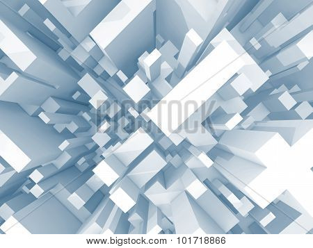 Abstract Schematic Light Blue 3D Cityscape, Top View