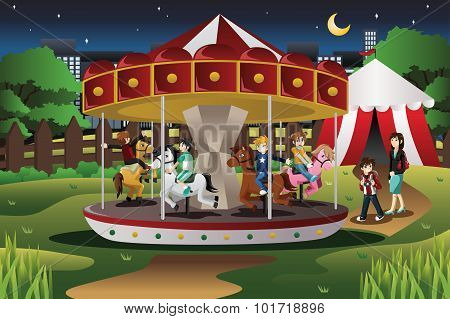 Kids On Merry Go Round