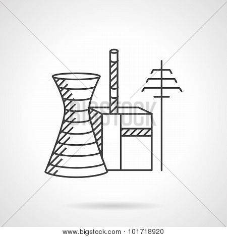 Thermal power plant line vector icon