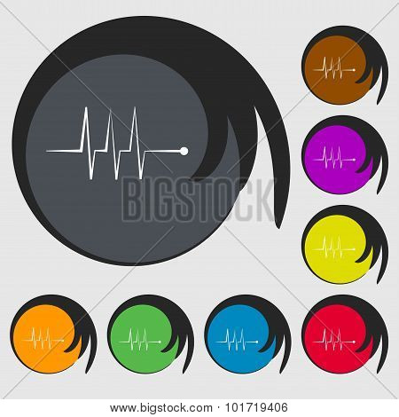 Cardiogram Monitoring Sign Icon. Heart Beats Symbol. Symbols On Eight Colored Buttons. Vector