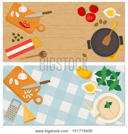 Flat design food and cooking banner