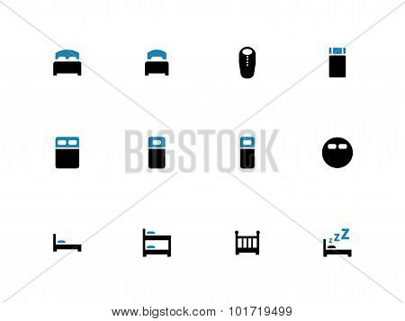 Bed duotone icons on white background.