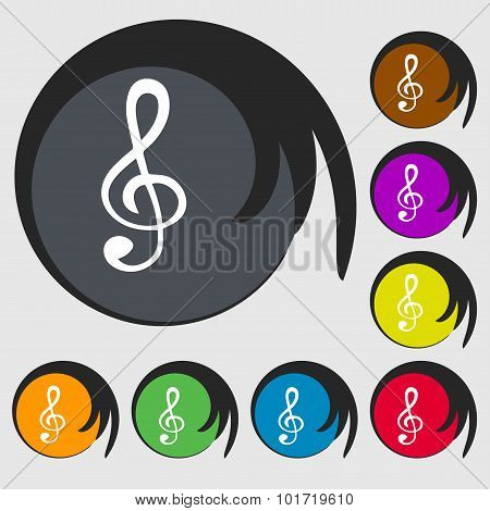 Treble Clef Icon. Symbols On Eight Colored Buttons. Vector