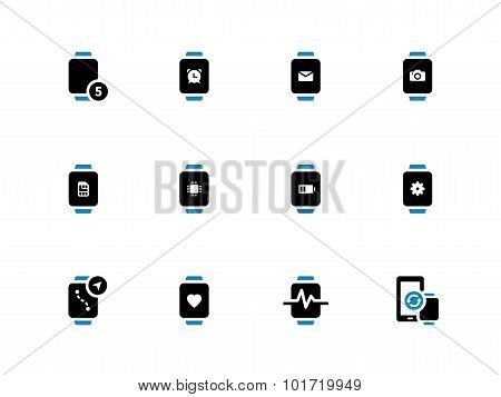 Smart watch with battery and settings duotone icons on white background.