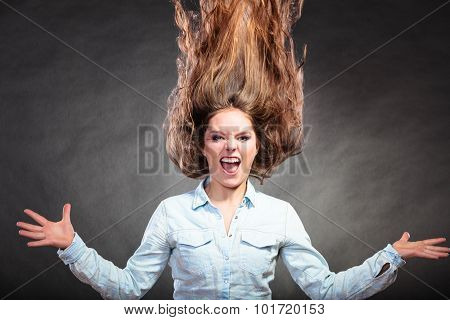 Happy And Ecstatic Woman Girl Having Fun. Motion.