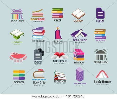 Book vector logo template set. Books logo. Book open. School library books. Education, university, college symbol or knowledge, books stack, publish, page paper. Book icons. Isolated. Books vector