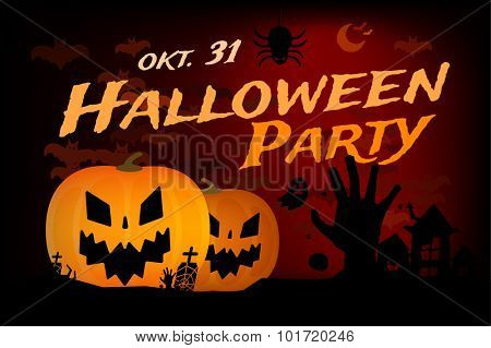 Halloween party vector background. Pumpkin head, zoombie hand, halloween symbols. Black and red halloween colors, halloween silhouette for halloween party flyer invite card design. Halloween night