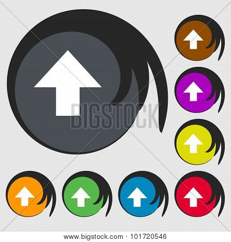 This Side Up Sign Icon. Fragile Package Symbol. Symbols On Eight Colored Buttons. Vector