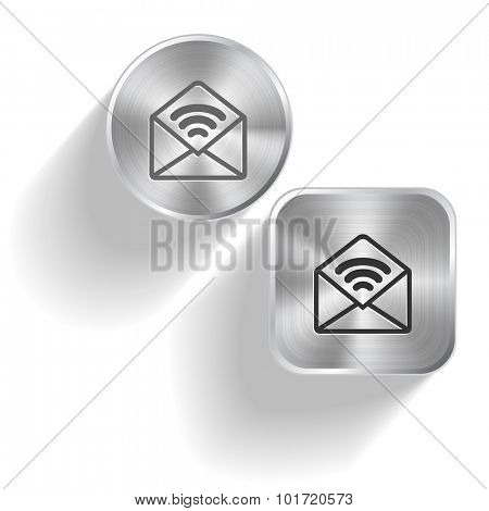 open mail with sound. Vector set steel buttons