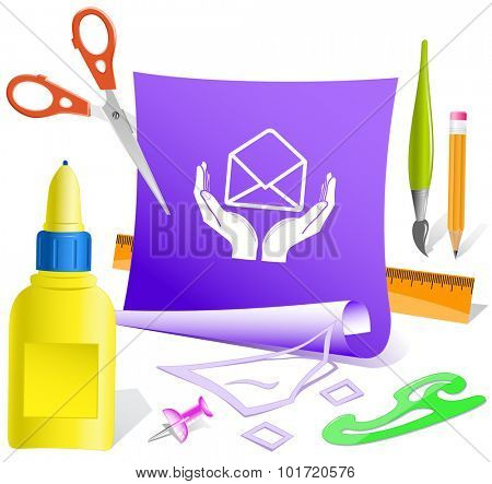 protection of mail. Paper template. Vector illustration.