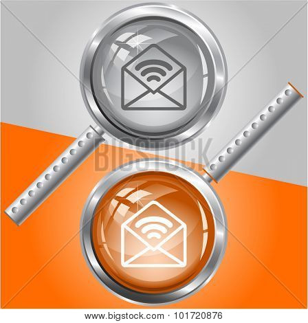 open mail with sound. Vector magnifying glass.