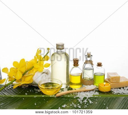 spa setting on banana leaf with pile of salt