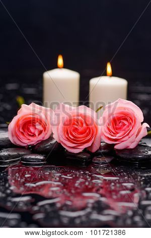 Set of three pink rose with candle on therapy stones