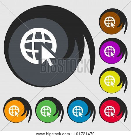 Internet Sign Icon. World Wide Web Symbol. Cursor Pointer. Symbols On Eight Colored Buttons. Vector