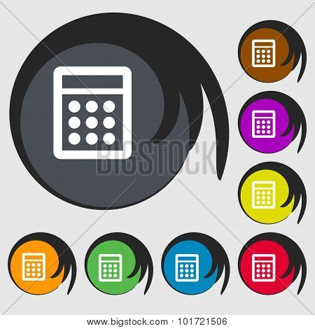 Calculator Sign Icon. Bookkeeping Symbol. Symbols On Eight Colored Buttons. Vector