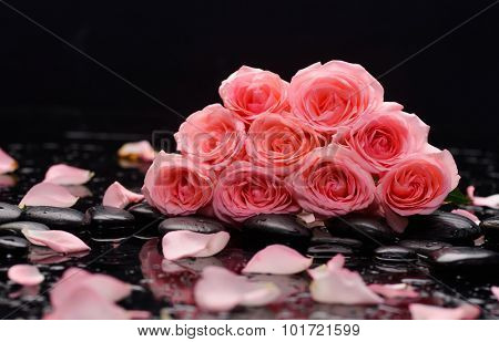 Pink bouquet rose .petals with therapy stones