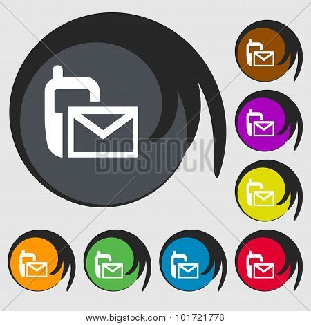 Mail Icon. Envelope Symbol. Message Sms Sign. Symbols On Eight Colored Buttons. Vector