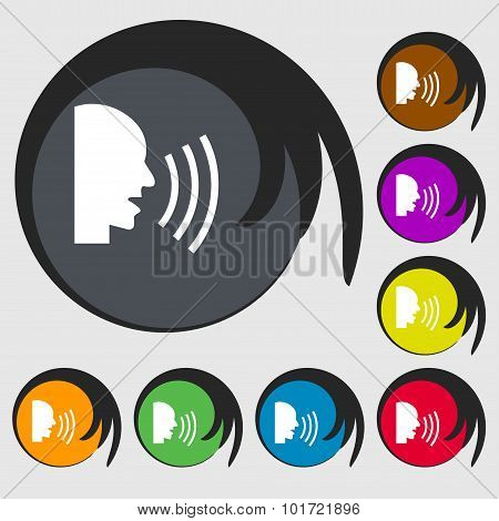 Talking Flat Modern Web Icon. Symbols On Eight Colored Buttons. Vector
