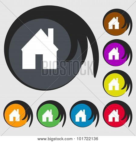 Home Sign Icon. Main Page Button. Navigation Symbol. Symbols On Eight Colored Buttons. Vector