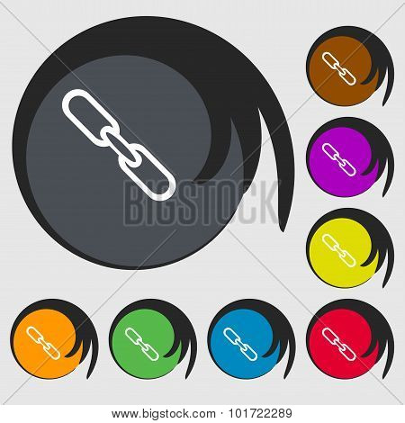 Link Sign Icon. Hyperlink Chain Symbol. Symbols On Eight Colored Buttons. Vector
