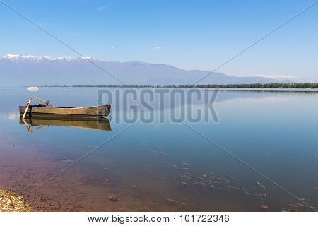 Boat At Kerkini Lake In Serres, In Greece