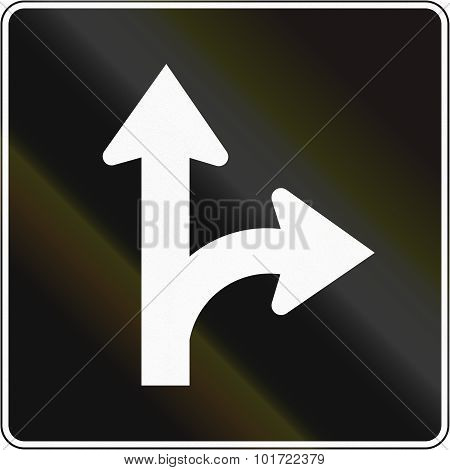 Right Turn And Straight Lane In Canada