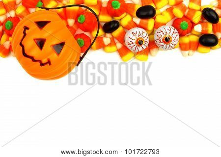 Halloween Jack o Lantern candy holder with candy top border