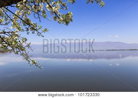 Kerkini Lake And Mountain Eco-area At North Greece By Struma River