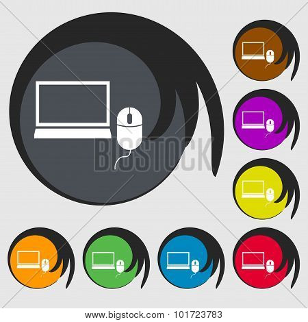 Computer Widescreen Monitor, Mouse Sign Icon. Symbols On Eight Colored Buttons. Vector