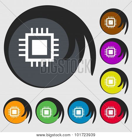 Central Processing Unit Icon. Technology Scheme Circle Symbol. Symbols On Eight Colored Buttons. Vec